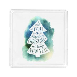 Plateau En Acrylique Aquarelle de Noël | - citation de Joyeuses Fêtes