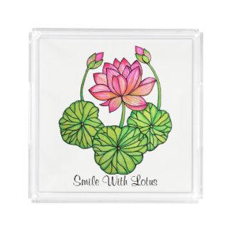 Plateau En Acrylique Aquarelle Lotus rose avec les bourgeons et le