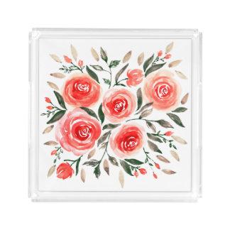 Plateau En Acrylique Aquarelle rose romantique de roses florale