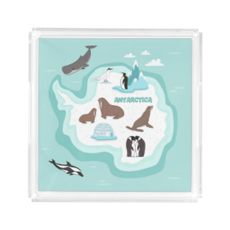 Plateau En Acrylique Carte animale d'enfants de l'Antarctique