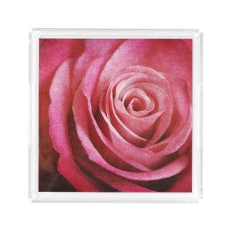 Plateau En Acrylique Fleur de rose de rose avec la texture grunge