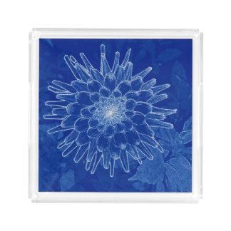 Plateau En Acrylique fleur sur le bleu