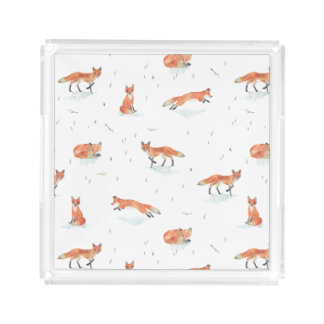 Plateau En Acrylique Fox d'hiver