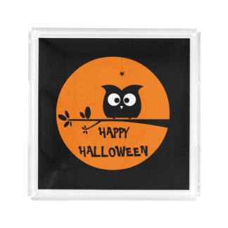 Plateau En Acrylique Hibou mignon de Halloween