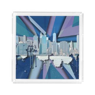 Plateau En Acrylique Horizon | 3D bleu de New York City