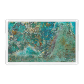 Plateau En Acrylique Image en pierre bleue de Chrysocolla