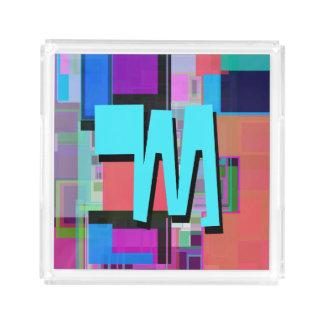 Plateau En Acrylique Monogramme géométrique coloré de bleu de turquoise