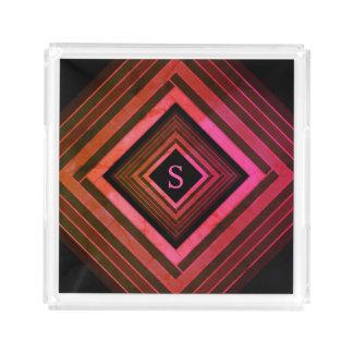 Plateau En Acrylique Monogramme géométrique rose rustique de carrés