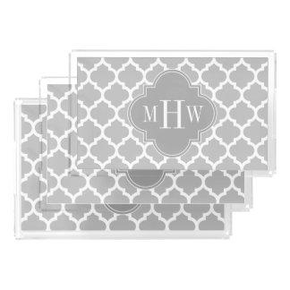 Plateau En Acrylique Monogramme initial du gris 3 marocains du blanc
