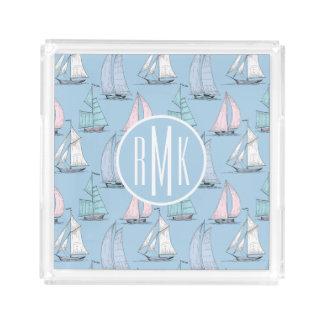Plateau En Acrylique Monogramme mignon du motif | de voilier