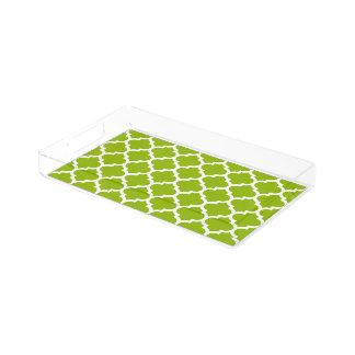 Plateau En Acrylique Motif blanc vert pomme #5 de Quatrefoil de