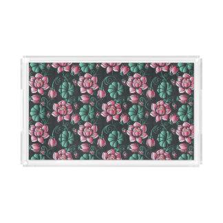 Plateau En Acrylique Motif floral élégant de motif rose de Lotus