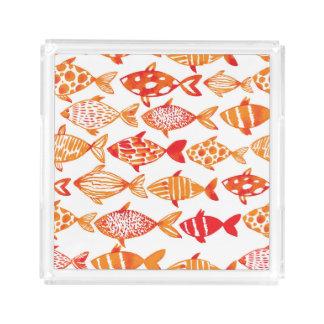 Plateau En Acrylique Motif orange lumineux de poissons d'aquarelle