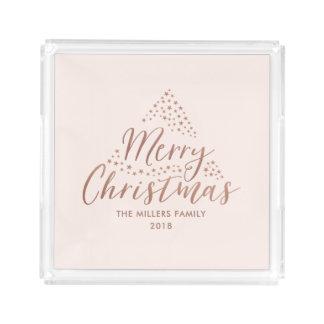 Plateau En Acrylique Noël moderne des étoiles | Joyeux