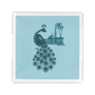 Plateau En Acrylique Paon bleu romantique