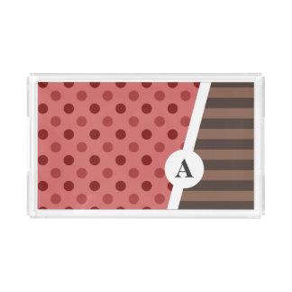 Plateau En Acrylique Point de polka de fraise de Choco et motif de