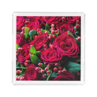 Plateau En Acrylique Roses rouges