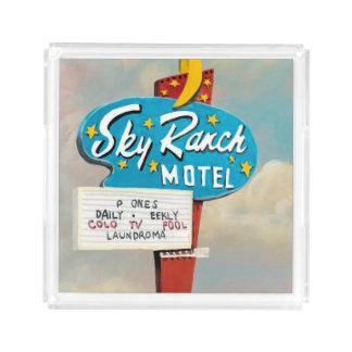 Plateau En Acrylique Signe de motel de ranch de ciel