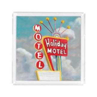 Plateau En Acrylique Signe de motel de vacances