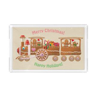 Plateau En Acrylique Train de vapeur de Noël de pain d'épice