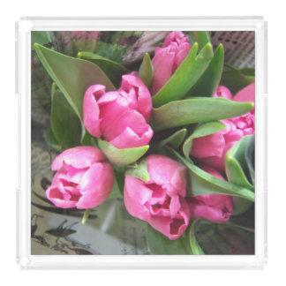 Plateau En Acrylique Tulipes roses