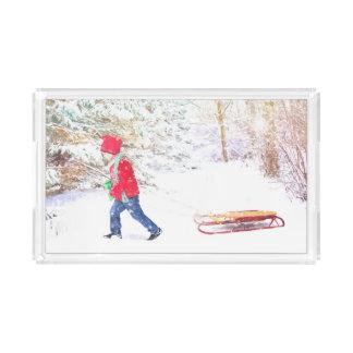 Plateau En Acrylique Vacances de Noël de garçon de traîneau d'hiver de