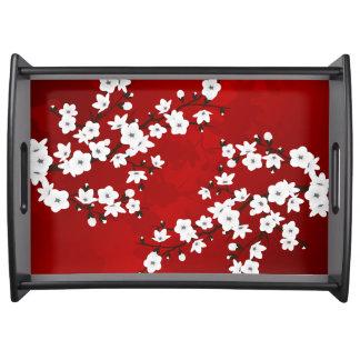 Plateau Fleurs de cerisier noires et blanches rouges