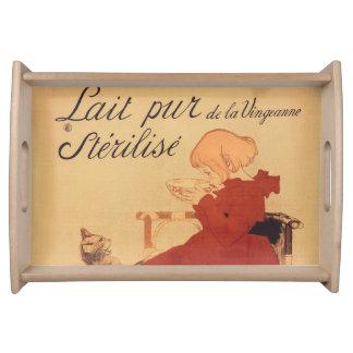 Plateau Française vintage Lait Pur de fille et de chat de