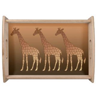 Plateau Girafe, cuivre et Brown géométriques modernes