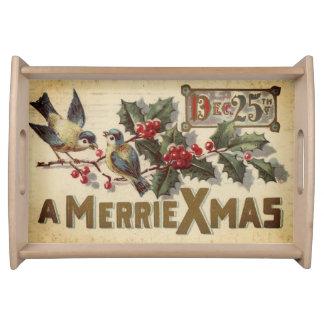 Plateau Merrie Noël oiseaux vintages du 25 décembre et