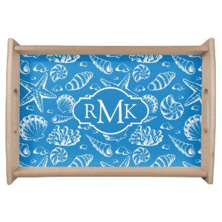 Plateau Monogramme bleu du motif | de plage
