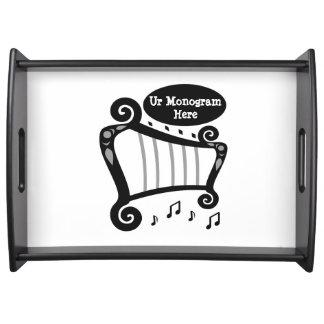 Plateau Monogramme noir et blanc d'harpe