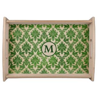 Plateau Monogramme vert élégant de damassé