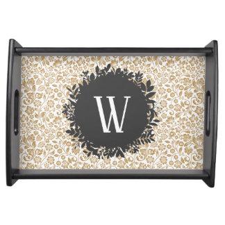 Plateau Motif floral d'or avec le monogramme gris-foncé de