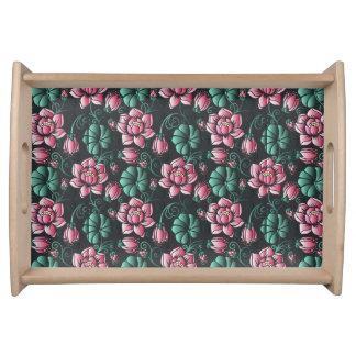 Plateau Motif floral élégant de motif rose de Lotus