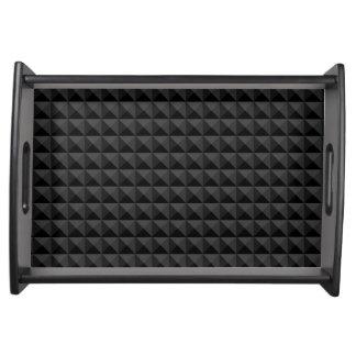 Plateau Motif géométrique moderne de carré noir