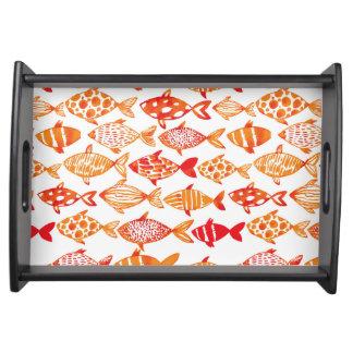 Plateau Motif orange lumineux de poissons d'aquarelle