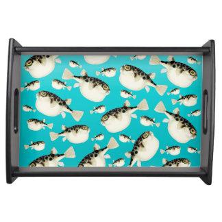 Plateau Motif turquoise de poissons de décolleur