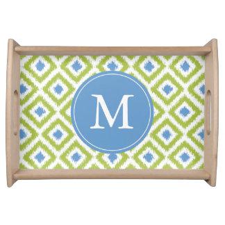 Plateau Motif vert et bleu décoré d'un monogramme de