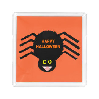 Plateau noir de parfum d'araignée de Halloween