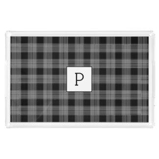 Plateau noir décoré d'un monogramme de portion de