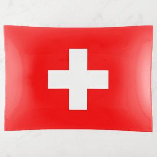 Plateau patriotique de bibelot avec le drapeau de