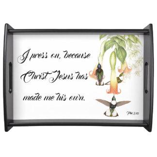 Plateau Presse de bible de Jésus d'oiseau de colibri sur