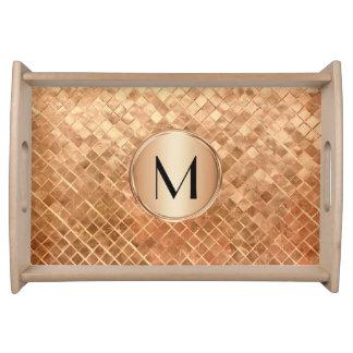 Plateau Regard métallique et monogramme d'or rose moderne