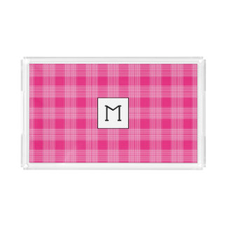 Plateau rose décoré d'un monogramme de portion de