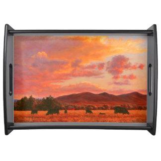 Plateau rose et orange de portion de coucher du
