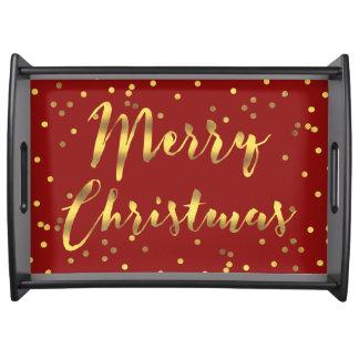 Plateau Rouge de Joyeux Noël de confettis d'or de Faux