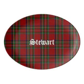 Plateau royal de porcelaine de plaid de Stewart