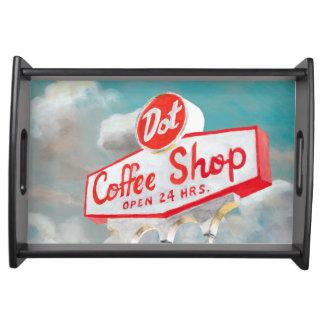 Plateau Signe américain de café-restaurant du bord de la