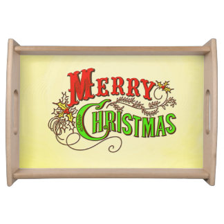 Plateau Slogan vintage de carte de Joyeux Noël